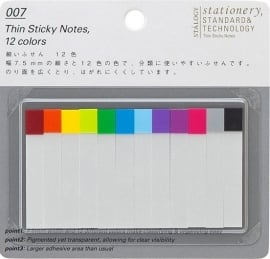 Stalogy 007 Thin Sticky Notes, 12 colors