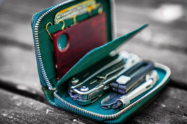 Galen Leather EDC Wallet - Crazy Horse Forest Green