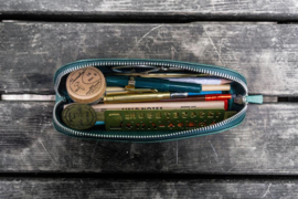 Galen Leather - XLarge Zipper Leather Pencil Case - Crazy Horse Forest Green