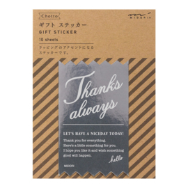 "Midori Gift Sticker - ""Thanks Always"" Silver"