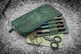 Galen Leather - Slip-N-Zip 4 Slots Zippered Pen Pouch - Crazy Horse Forest Green