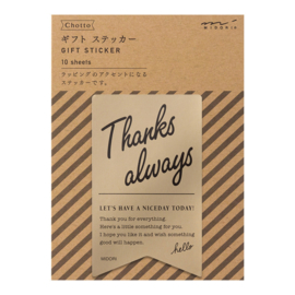 "Midori Gift Sticker - ""Thanks Always"" Gold"