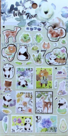 Liang Feng Watercolor Stickers - White Rose