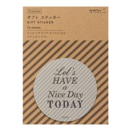 "Midori Gift Sticker - ""Nice Day"" Grey"