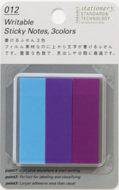 Stalogy Writable Sticky Notes, 15 x 50 mm, Set C (Light-blue, Purple, Lilac)