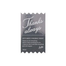 "Midori Gift Sticker - ""Thanks Always"" Silver"