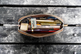 Galen Leather - XLarge Zipper Leather Pencil Case - Crazy Horse Tan
