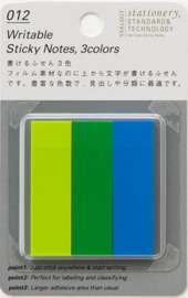 Stalogy Writable Sticky Notes, 15 x 50 mm, Set B (Lime, Green, Blue)