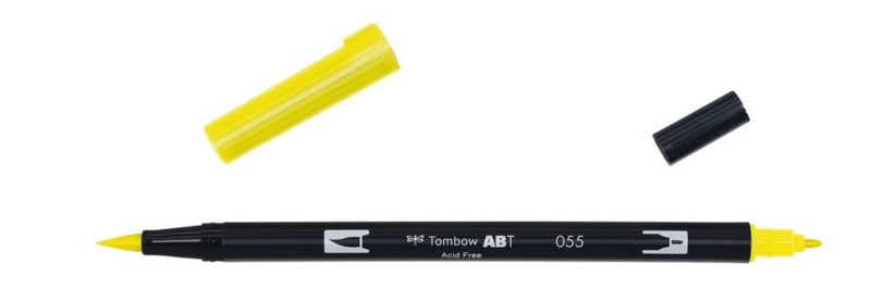 Tombow ABT DUAL BRUSH tekenpen. Kleur: process yellow (055)