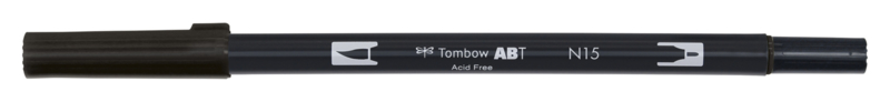Tombow ABT DUAL BRUSH tekenpen. Kleur: black (N15)