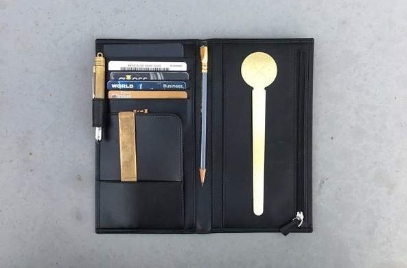 Leather Wallet Insert for Traveler's Notebook -Regular Size Black