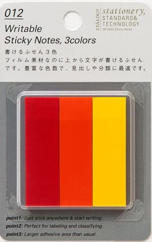 Stalogy Writable Sticky Notes, 15 x 50 mm, Set A (Red, Orange, Yellow)