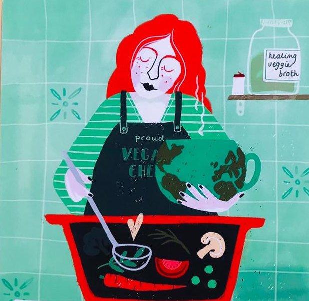 Madame Ziba kaart Eet groen!