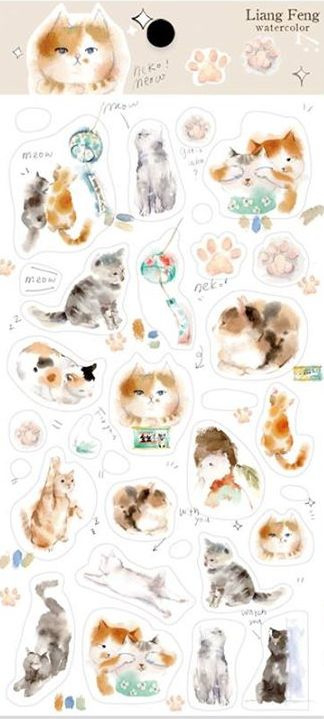 Liang Feng Watercolor Stickers - Cat