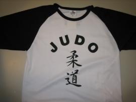 Judo Shirt wit / zwart maat 128
