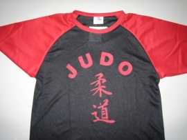 Judo Shirt rood / zwart maat 128