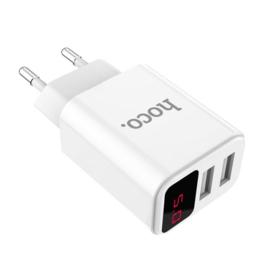 Hoco Victoria dual port charger met digitaal display