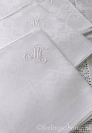 Antieke damasten servetten, 3 st