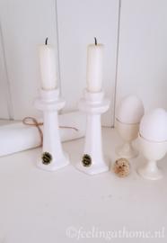 Set Delfts wit kandelaartjes