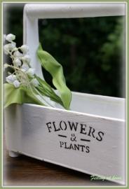 """Houten plantenbakje """"flowers and plants"""" rechthoekig"""