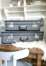 Vintage blauwe koffer klein