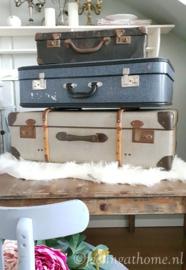 Vintage blauwe koffer groot