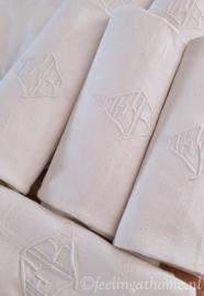 Antieke damasten servetten, 9 st