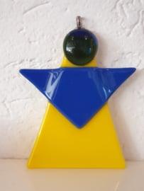 Kerstengel, blauw geel