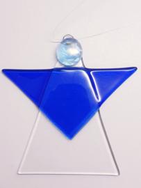 Kerstengel, helder met blauw