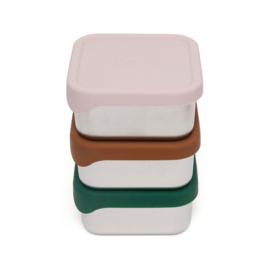 Petit Monkey - Snackboxbox stainless steel - 10x10 + kleuren