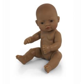 Bruine babypop, meisje,  32 cm.