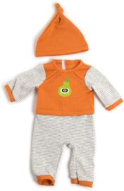 Pyjama met muts, oranje 38-40 cm.