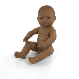 Babypop met donkere huid, jongen 40 cm.