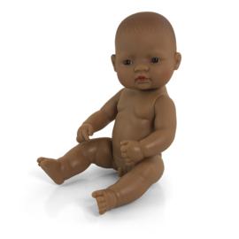 Bruine babypop, jongen,  32 cm.