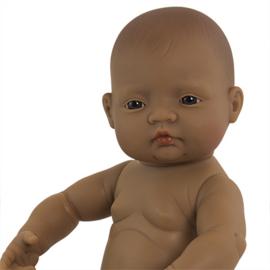 Bruine babypop meisje 40 cm.