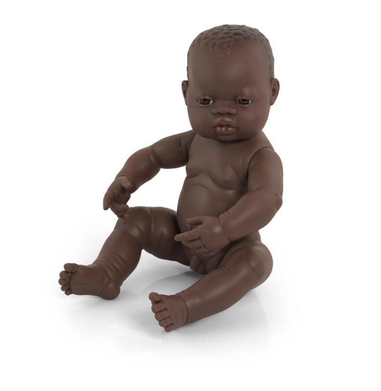 Donkere babypop  jongen 40cm.