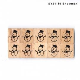 11.02 Houten scrabble blokje: sneeuwpop 2