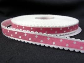 10.03 Wit lint met kartel randje en roze opdruk