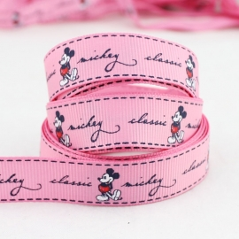 10.02 Donker roze lint met Mickey Mouse