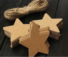 05. 5 kartonnen sterren labels incl. touw