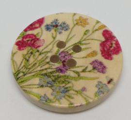 09. Grote houten knopen met verschillende bloemen