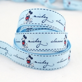 10.02 Blauw lint met Mickey Mouse