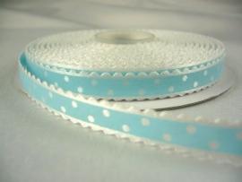 10.03 Wit lint met kartel randje en licht blauwe opdruk