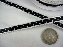 10.03 Wit lint met kartel randje en zwarte opdruk