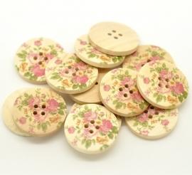 09. Grote houten knopen met roze rozen