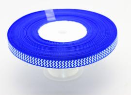 10.05 Blauw lint met wit gekartelde opdruk