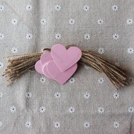 05. Kartonnen parelmoer roze hartje incl. touw