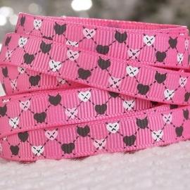 10.08 Roze lint met zwarte, roze en witte hartjes