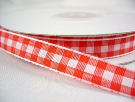 10.07 Rood wit geruit lint 1 cm.