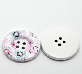09. Grote witte knopen met gekleurde bloemen en hartjes